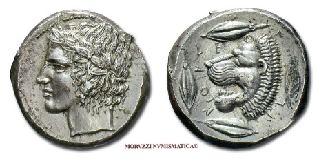 Greek coins: tetradrachm of Leontini / Leontinoi (Coins of Leontini / Leontinoi provided by Arsantiqva - www.arsantiqva.com)