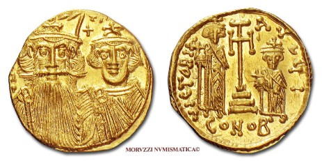 Byzantine coins: solidus of Constans II and Constantine IV offered by Arsantiqva